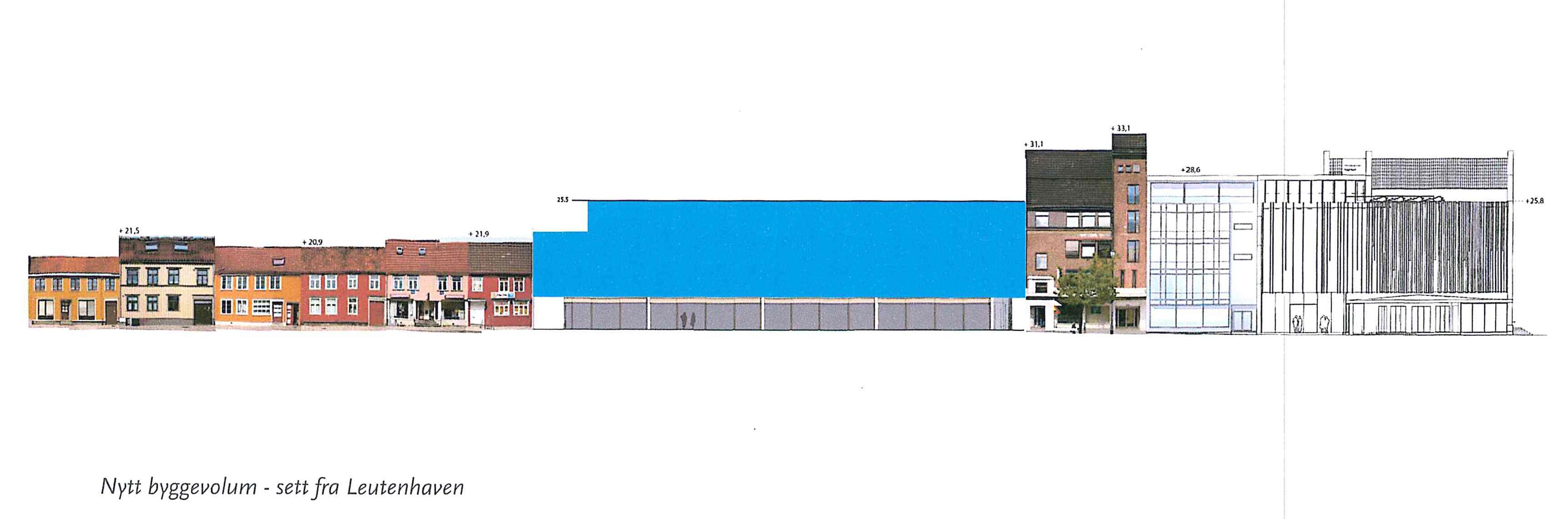 Fra én til fire etasjer. Dagens plassutnyttelse gir rom for fortetting. Det blå feltet skisserer tillatt byggehøyde mot Repslagerveita. (Illustrasjon: Basale)
