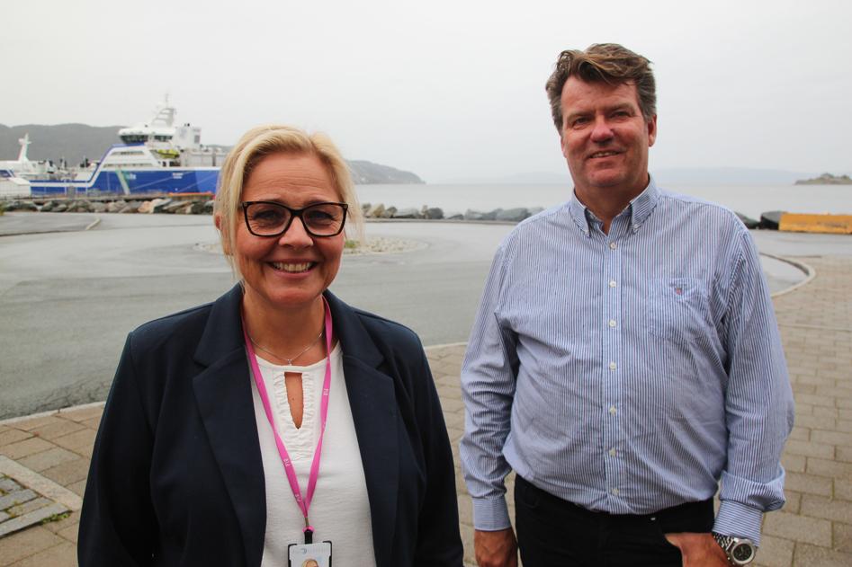 Nye lokaler. Kari Steinsbø og Kristian Digre i Nor-Fishing er straks klare for å overta nyoppussede kontorer i maritimt miljø i Pirsenteret.