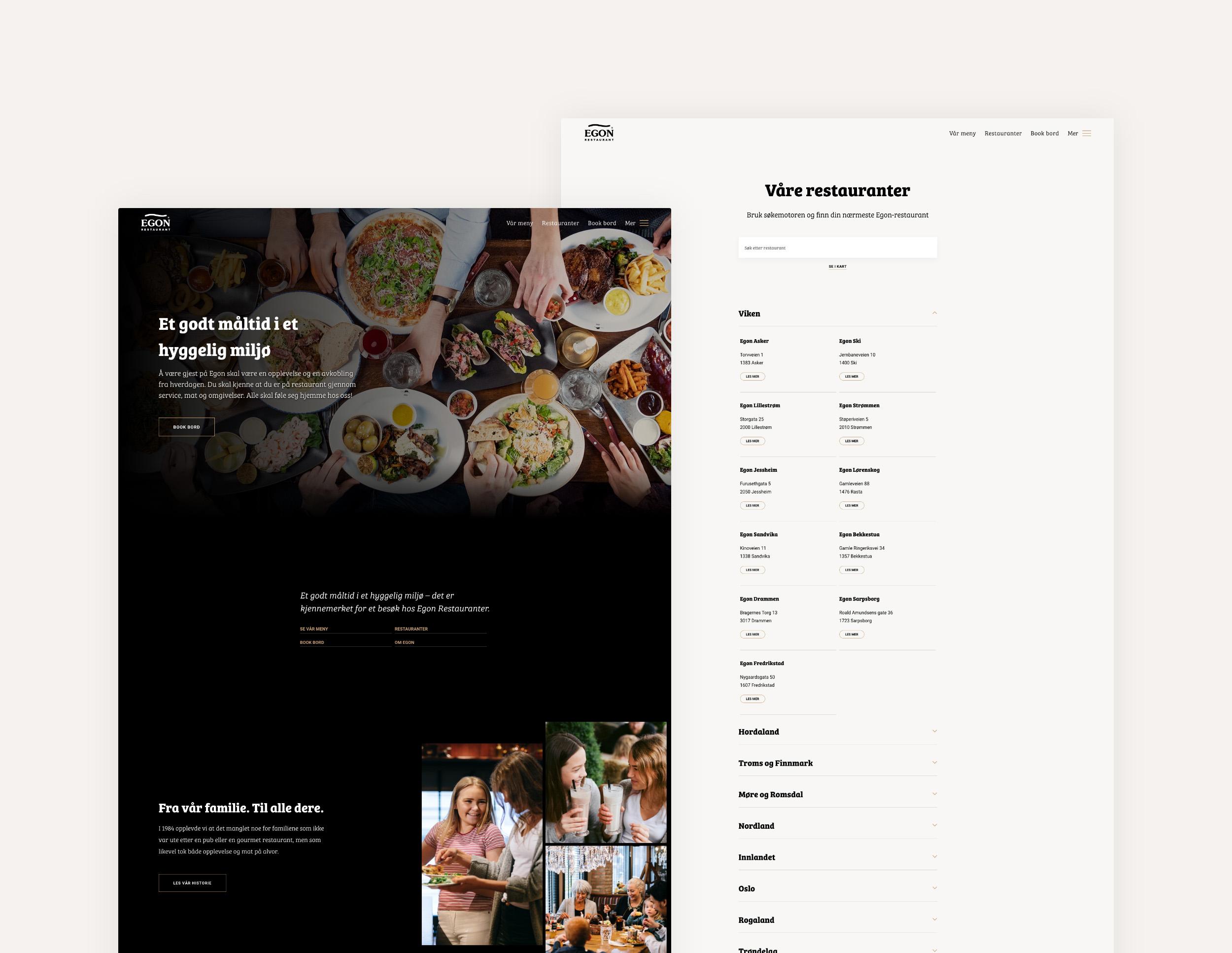 Forside og restaurantoversikt