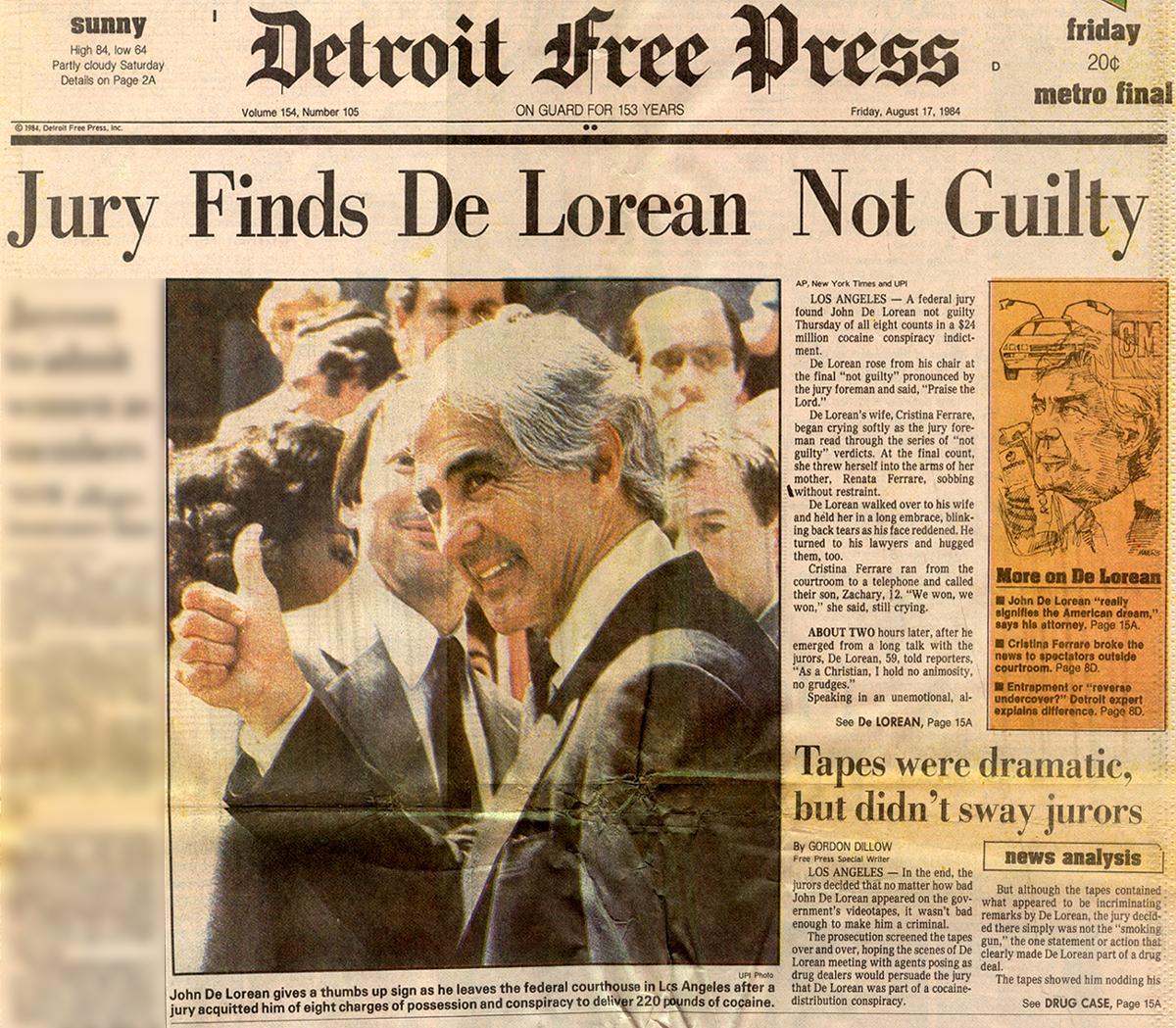 En tydelig fornøyd DeLorean går ut av rettslokalene, etter å ha blitt funnet ''Not Guilty''.