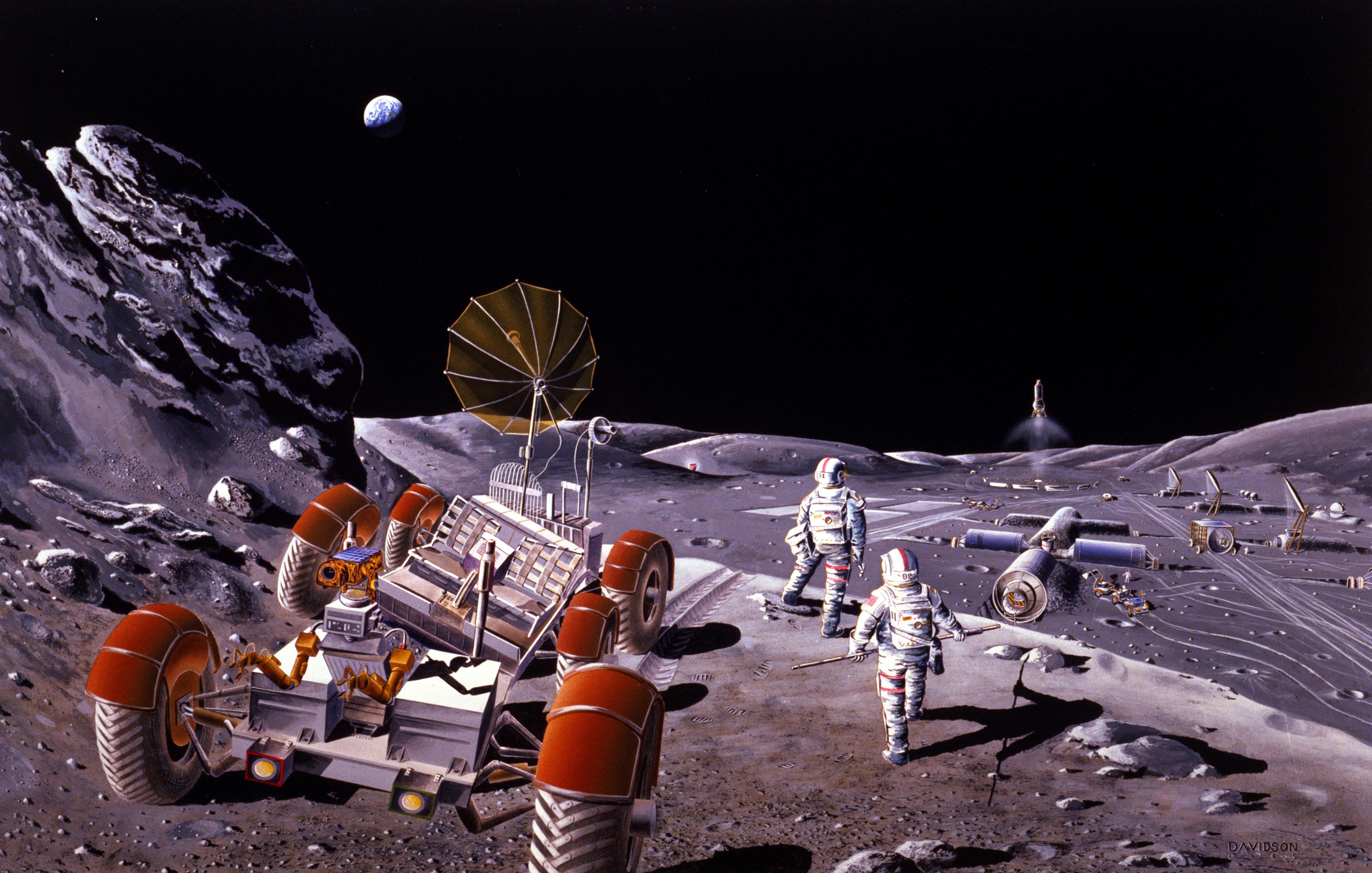 Konsept-kunst fra 1984 som viser månebilen og astronautene på Månen.