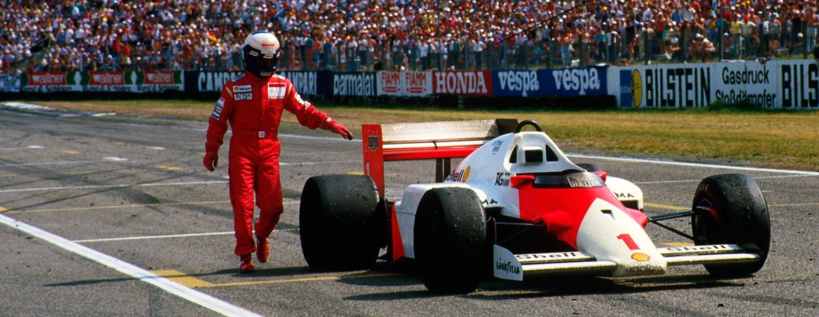 Det var sjelden Prost måtte bryte løp, men han måtte bryte Tyskland GP i 1987 som han ledet, bare fire runder før mål med tekniske problemer. Foto: McLaren