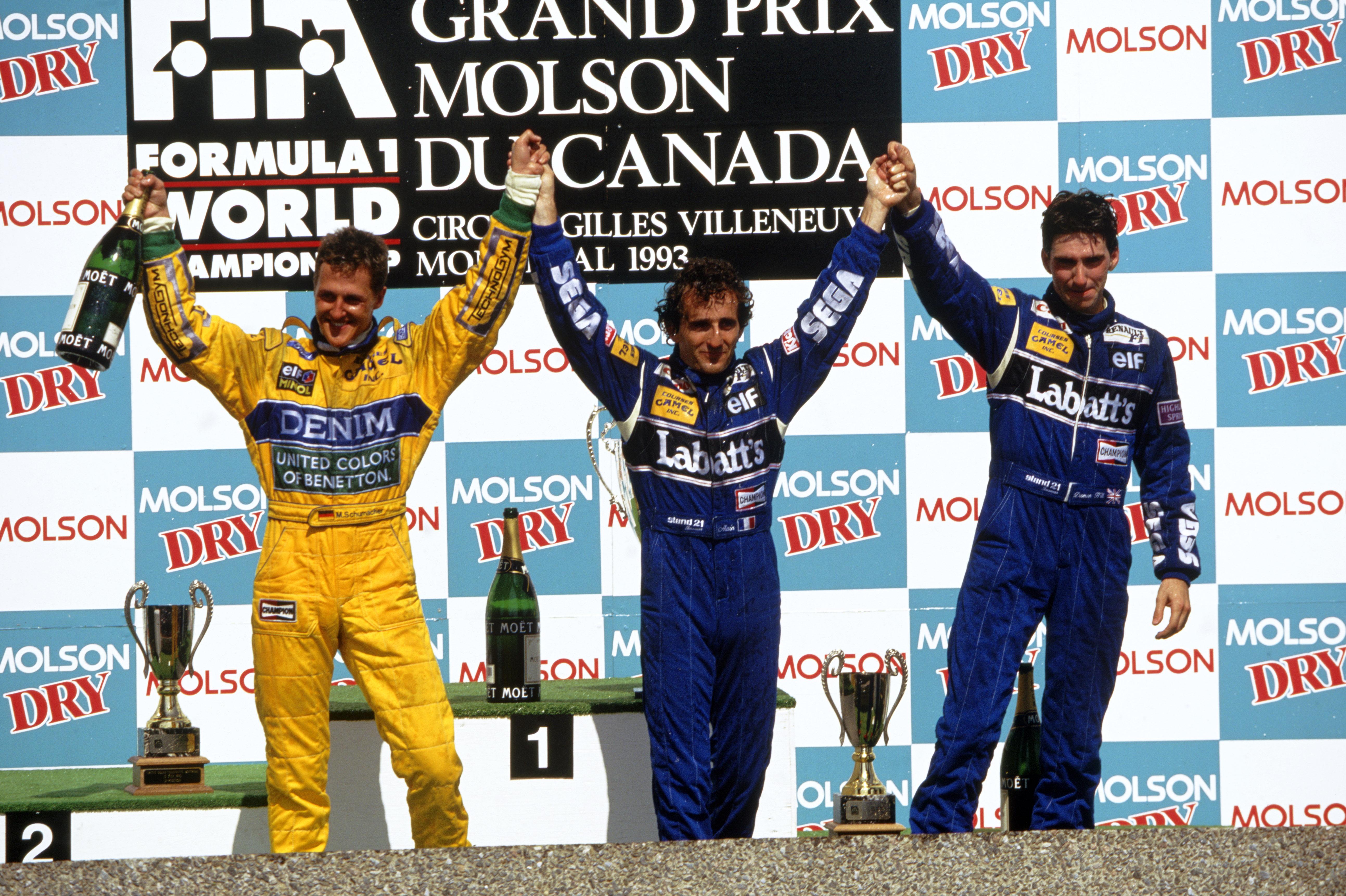 Prost ble vant med å stå øverst på seierspallen. Her har han slått Michael Schumacher og Damon Hill i Canada GP 1993. Foto: Williams