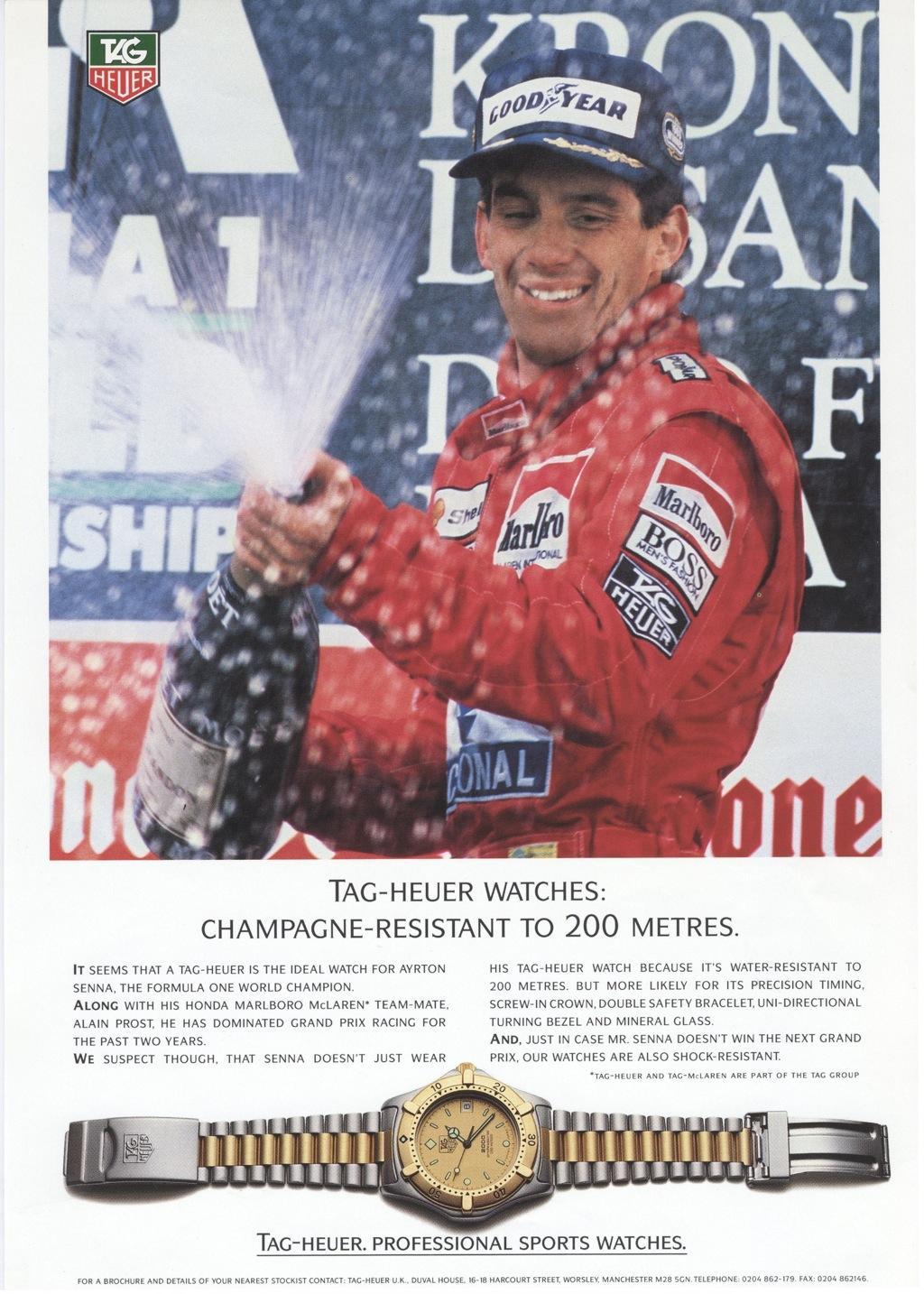 Senna ble sammen med Steve McQueen en frontfigur for Tag-Heuer sine klokker.