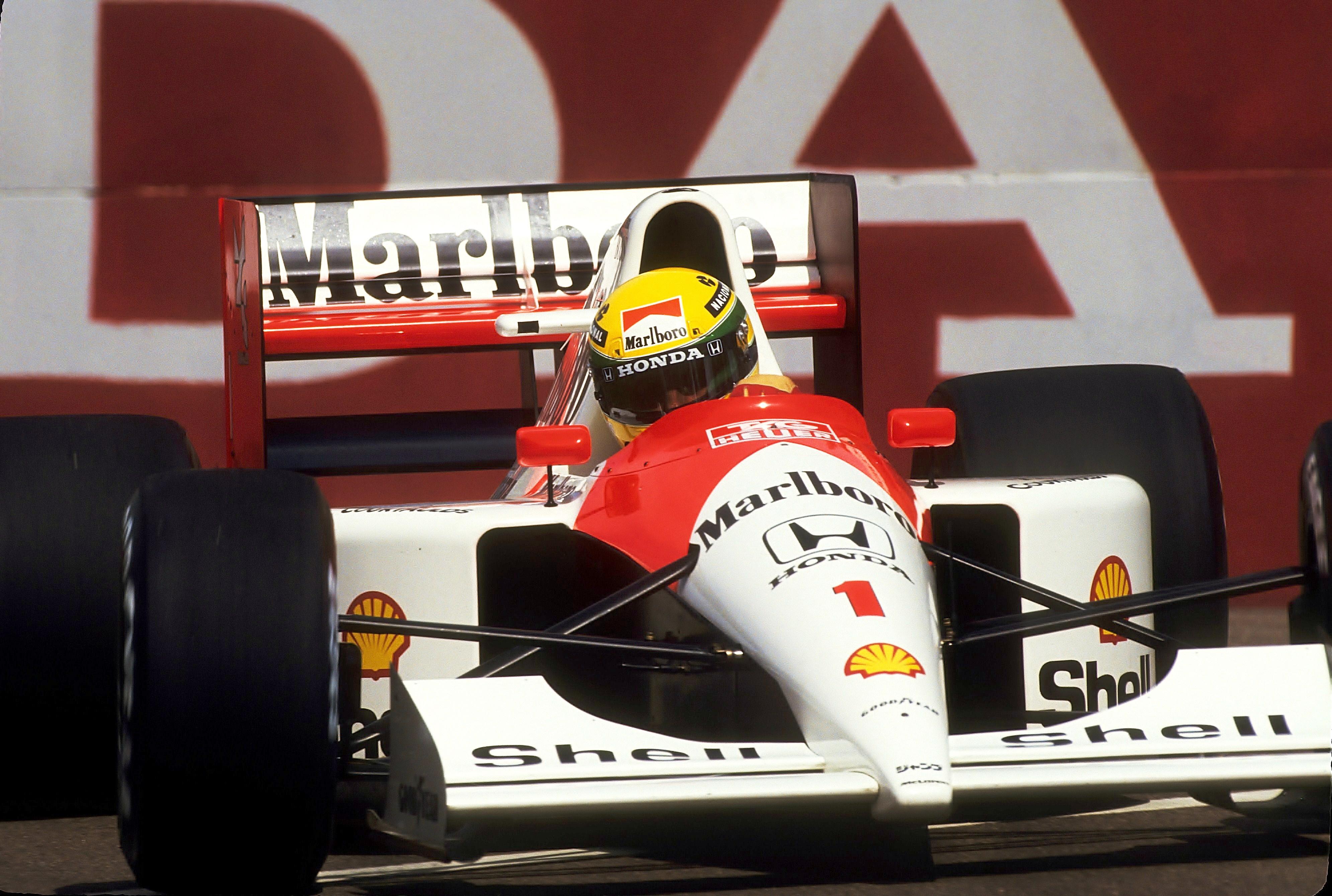 Senna kjørte fantastisk i 1991, her på vei mot seier i Phoenix, USA.