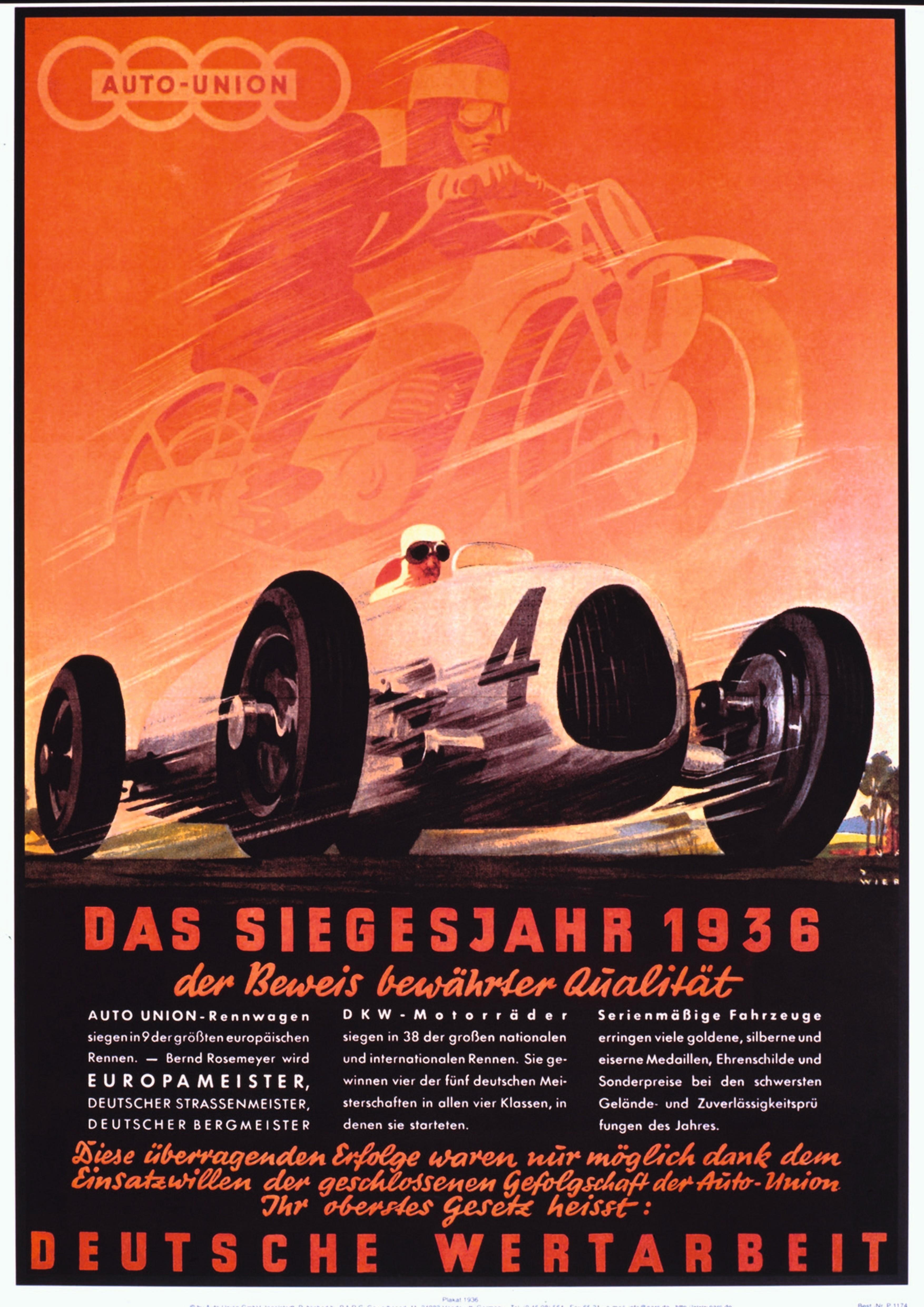 En plakat som reklamerer for Rosemeyers tittel-suksess i 1936.