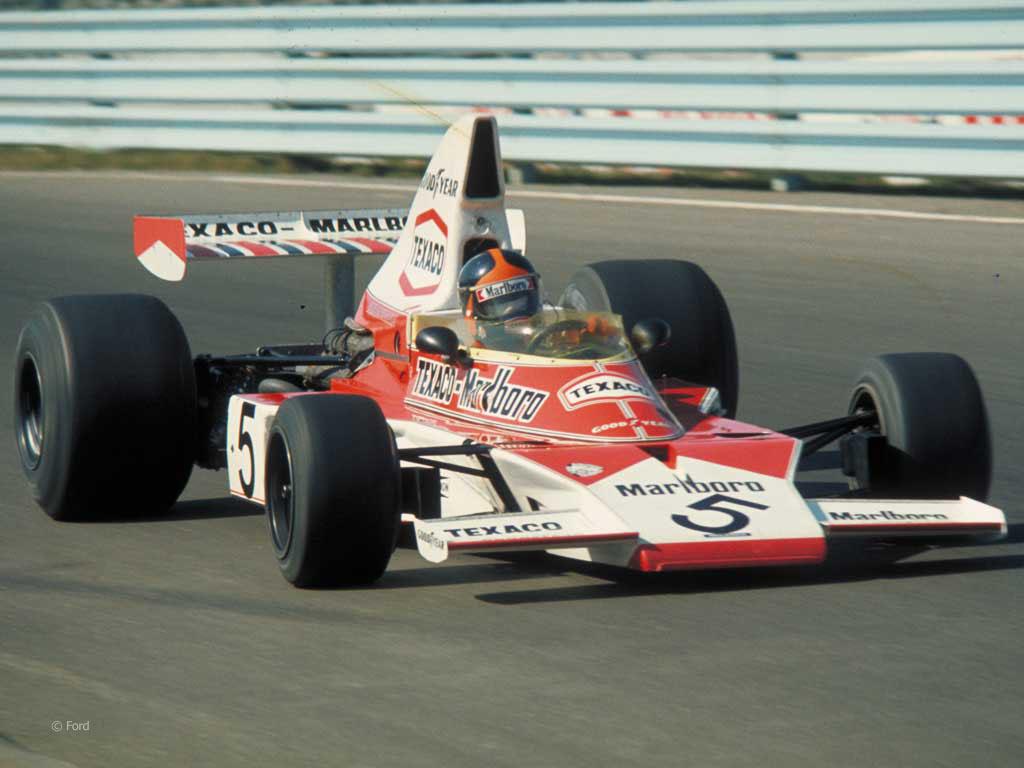 Emerson tok sin andre VM-tittel i 1974, i den nydelige McLaren M23. Foto: Ford