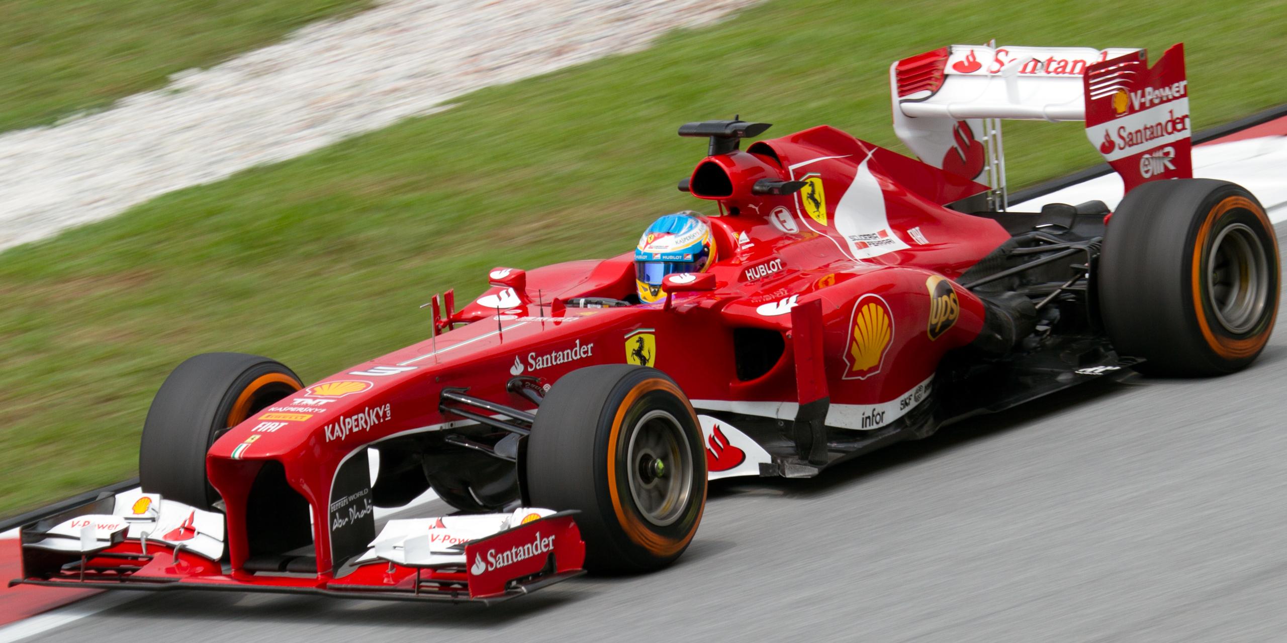 Ferrari-epoken ble nesten kronet med VM-titler i 2010 og 2012, her fra den langt vanskeligere 2013-sesongen. Foto: wikipedia
