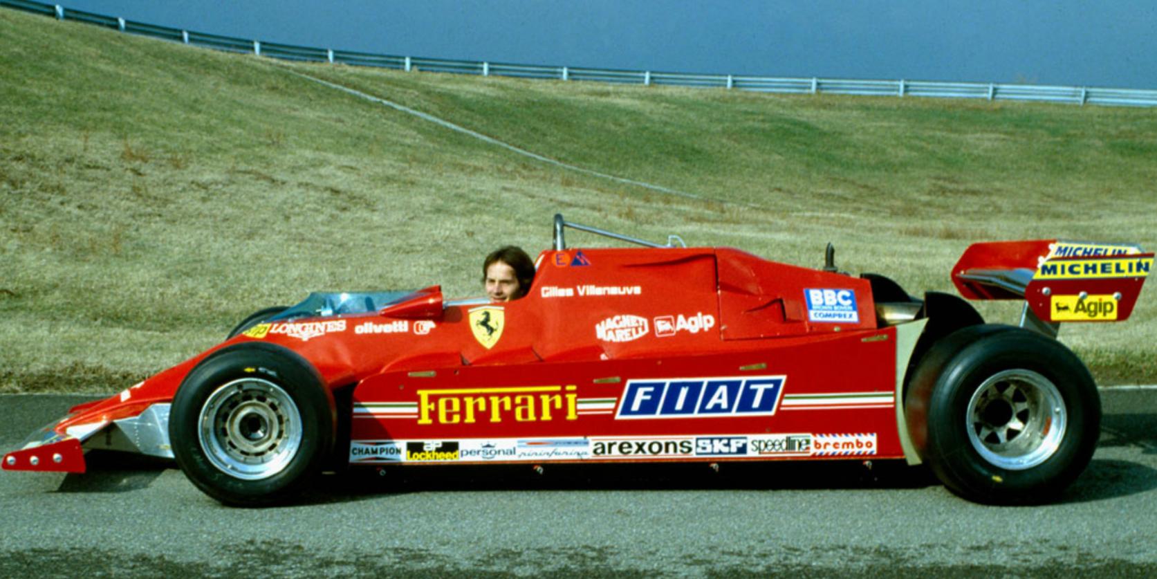 Gilles i Ferrari 126C, som ofte ble omtalt som et lastebilchassis med turbomotor. Allikevel tok Villeneuve sine to mest imponerende seire i den. Foto: Ferrari
