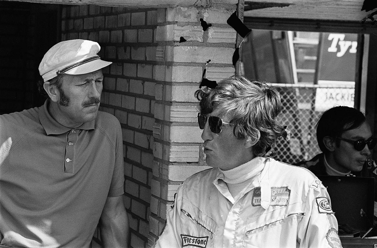 Lotus-sjef Colin Chapman og Jochen Rindt. Et til tider vanskelig samarbeid, men sommeren 1970 løsnet alt.