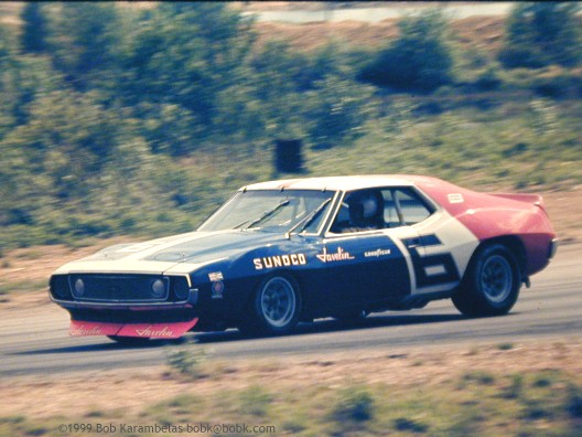 Mark Donohue vant 7 løp i sin AMC Javelin i 1971 på vei mot Trans-Am kronen. Foto: Ukjent