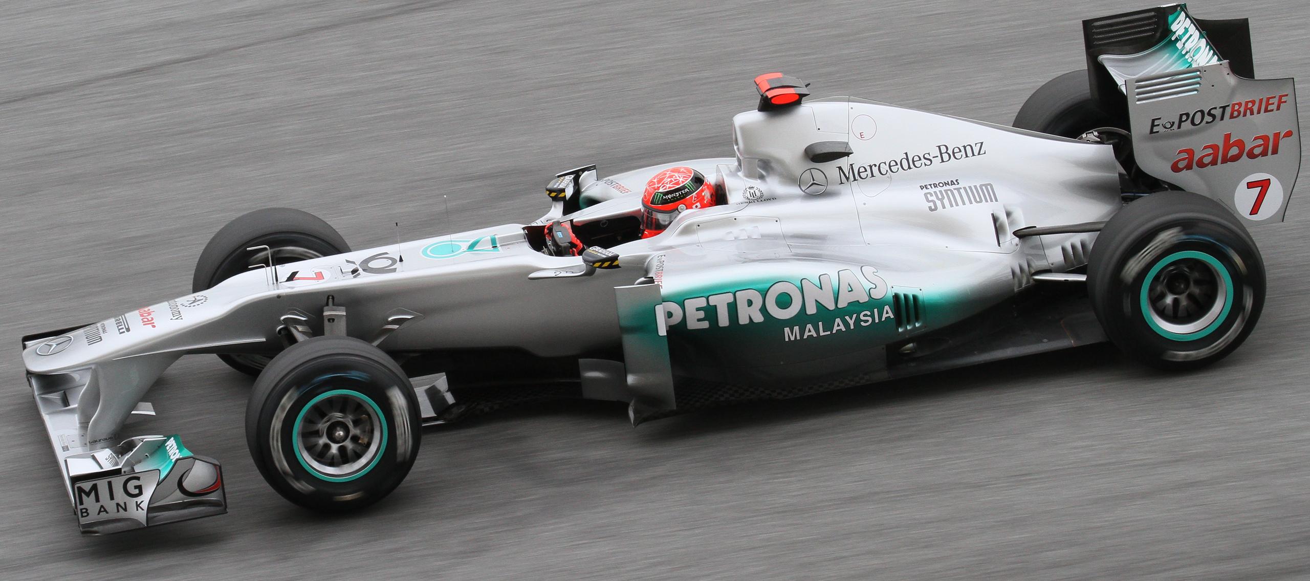 Mercedes-karrieren ble en gigantisk nedtur for Schumacher, selv om det var korte blaff av gammel storhet å se fra tid til annen.