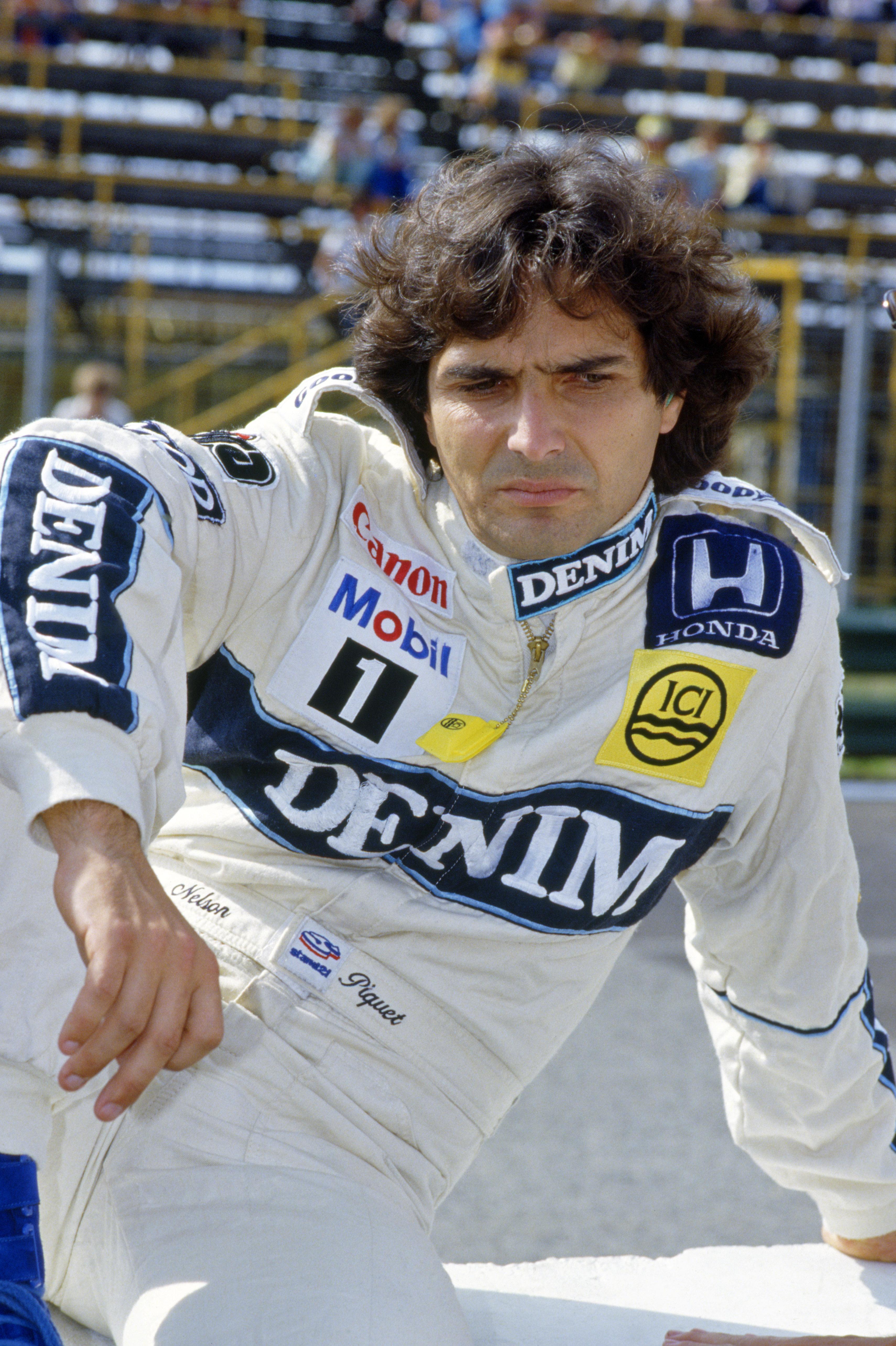 Her er kanskje Nelson irritert over noe Mansell har gjort, men stort sett var brasilianeren kjent for å være særdeles blid og utadvendt, med en ustoppelig trang etter practical jokes. Foto: Williams