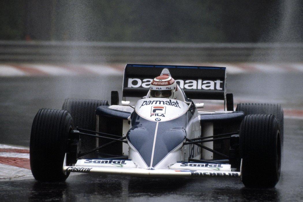 Nelson i sin pilformede Brabham BT52 i 1983, som gikk som en rakett etter at BMWs folk oppdaget drivstoff fra nazistenes dager.