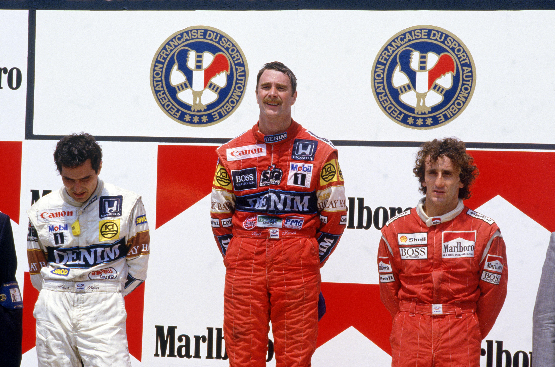 Mansell tok 6 seire i 1987, og burde ha blitt verdensmester. Her har han beseiret lagkamerat Nelson Piquet og Alain Prost i Frankrike GP. Foto: Williams