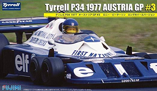 Tyrrell P34 ble ikonisk og en storselger som lekebil og modellbil. Selv i dag utgis den som byggesett, her i Østerrike GP 1977 versjon med Ronnie Peterson bak rattet.