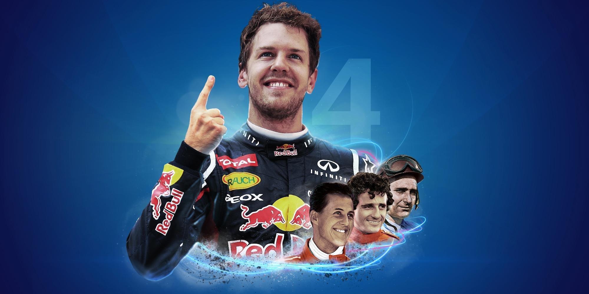 Med tittel nummer 4 i boks etter 2013-sesongen, var det bare Fangio, Prost og Schumacher som hadde flere VM-titler enn Vettel.