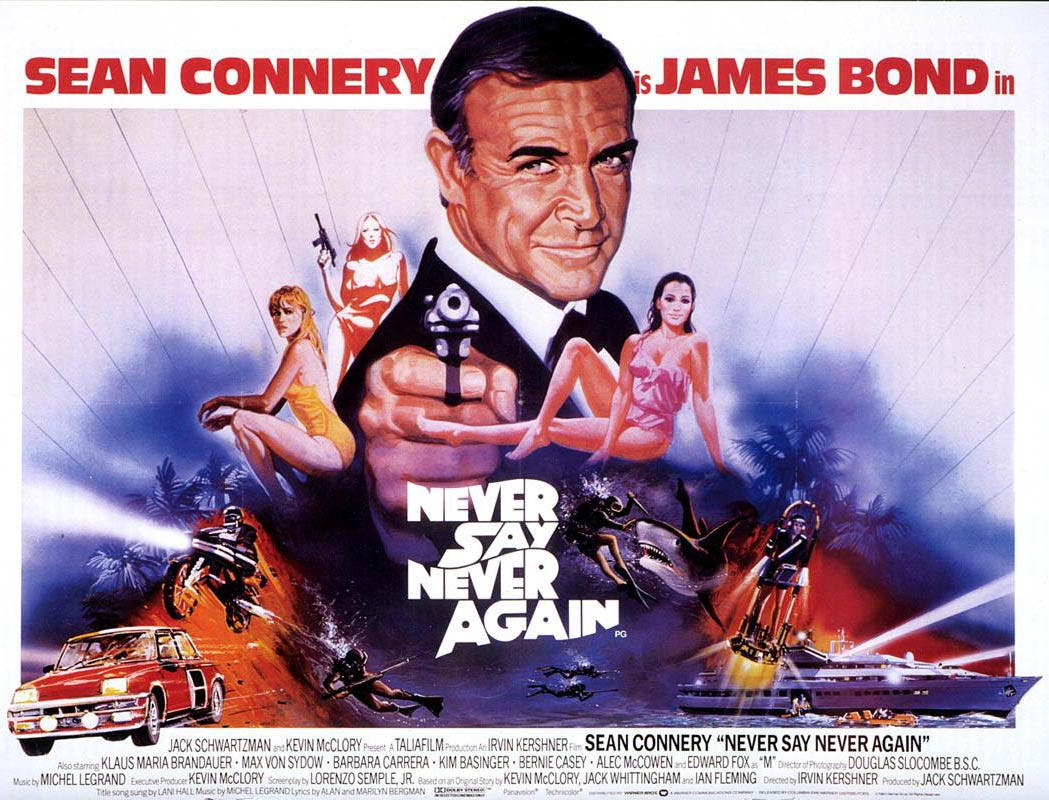 Filmplakat for James Bond-filmen «Never say never again». Legg merke til Renault 5 Turbo 2 nederst til venstre på plakaten.