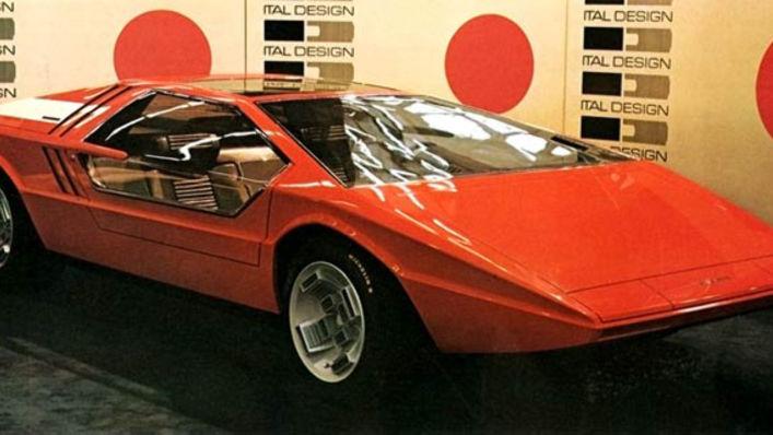 Bilen som den først ble vist i 1971, da i rødt og uten Maserati-logo foran.