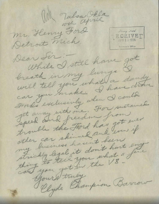 Brevet som Clyde Chestnut Barrow skal ha sendt til Henry Ford