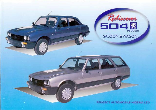 Annonse fra nyere tid for 504 på det nigerianske markedet. Legg merke til den litt mer moderne faceliften bilen har fått på dette tidspunktet.