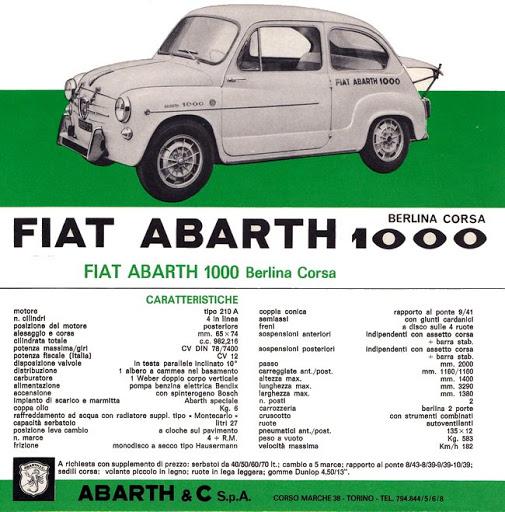 Teknisk info for Abarth 1000 Berlina Corsa med 78 hk og en toppfart på 182 km/t.