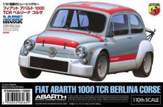 Byggesett fra Tamiya av en Abarth 1000 TCR Berlina Corsa.