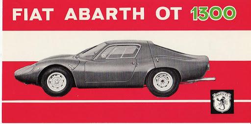 Brosjyrebilde for Abarth OT 1300 som var en rendyrket konkurranseberlinetta basert på deler fra Fiat 850. Totalvekt: 630 kg.