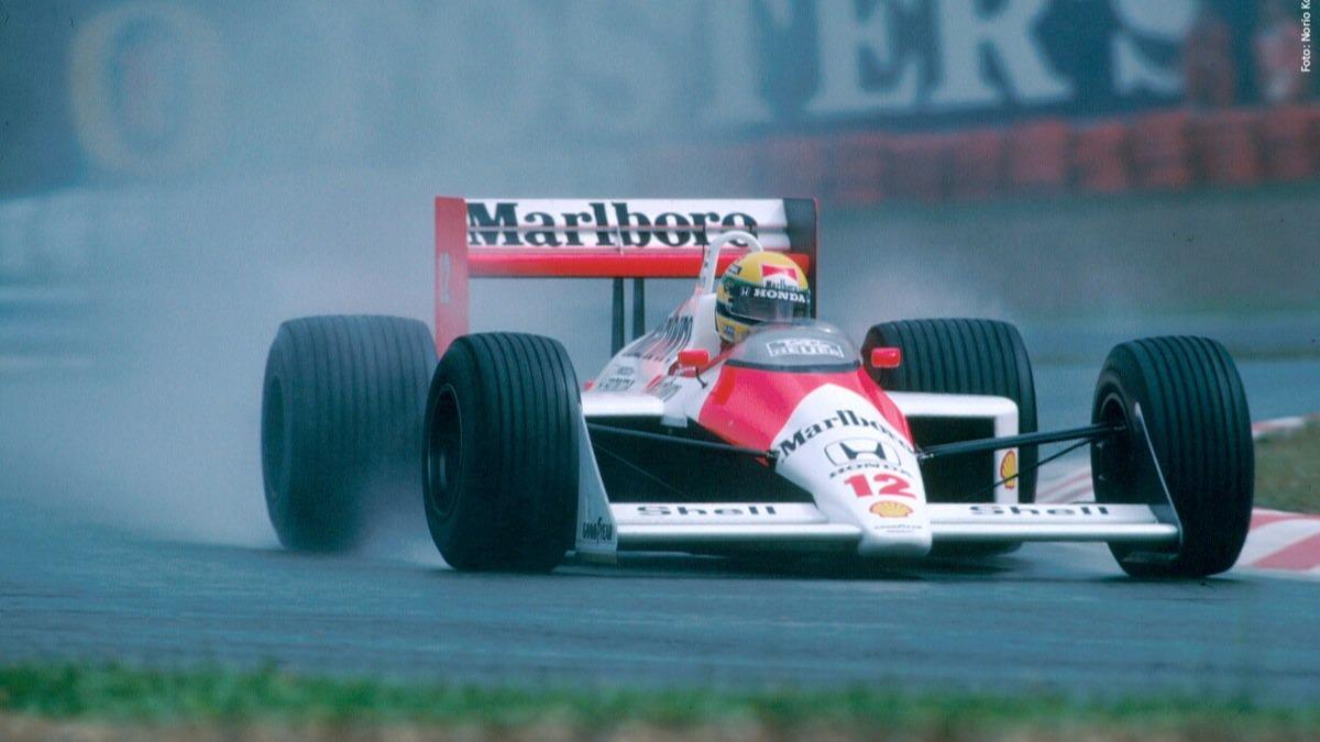 Ayrton Senna var uslåelig i regn, her på vei til en ny seier i 1988 i sin McLaren.
