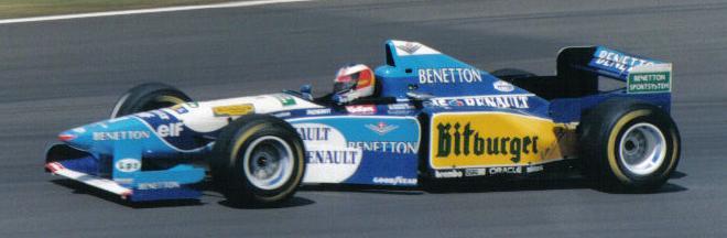 Michael Schumacher i sin 1995 Benetton. Bilde: Wiki Commons