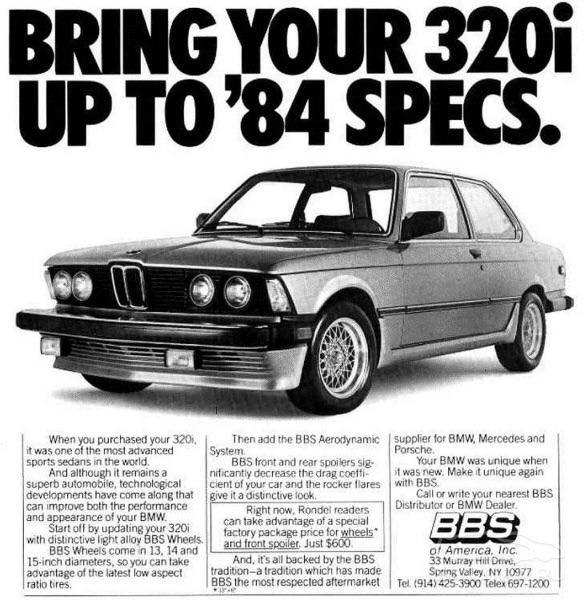 Slik så en reklame for BMW 320i ut i 1984.