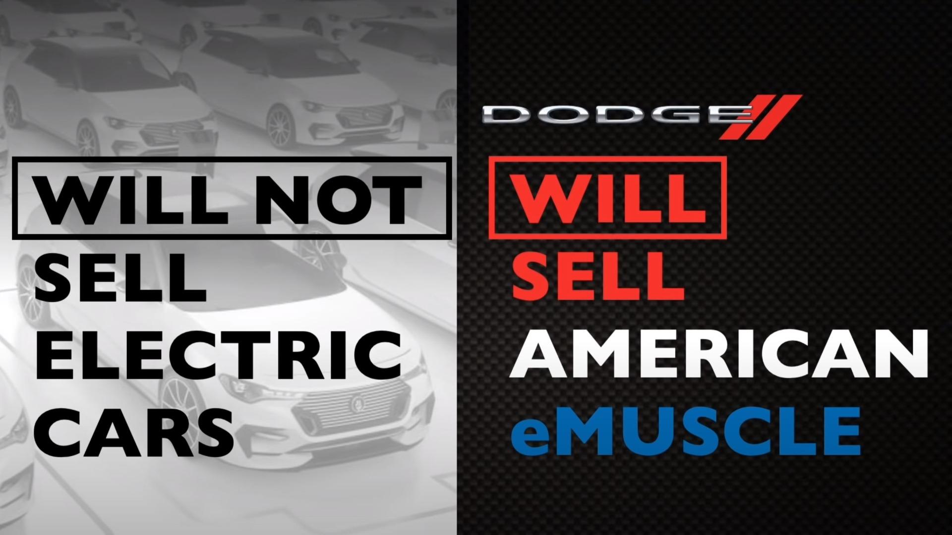 Dodge sier, noe hyklersk, at de ikke skal selge elektriske biler, men heller «American eMuscle».