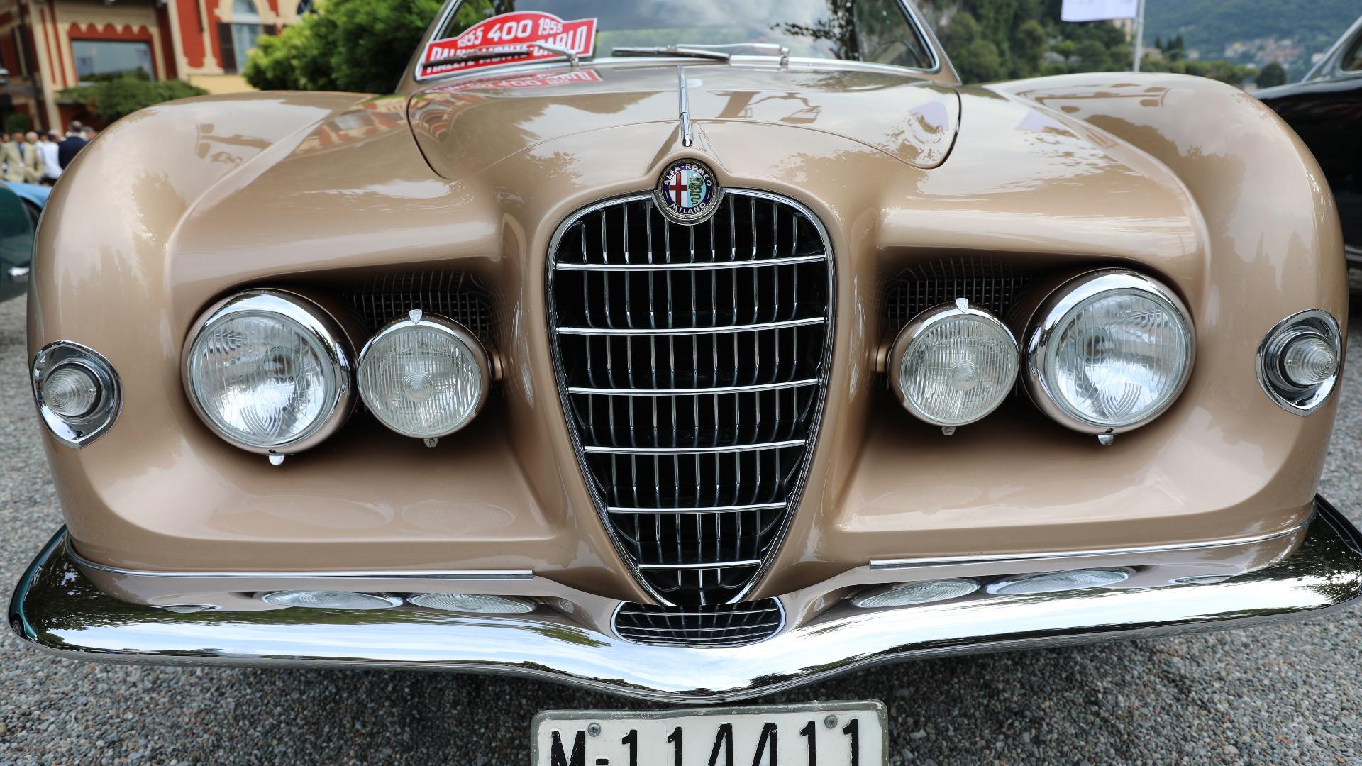 Barsk front på denne 1953 Alfa Romeo 1900 C Sprint «Supergioiello» («superjuvel» på norsk), med karosseri av Ghia.