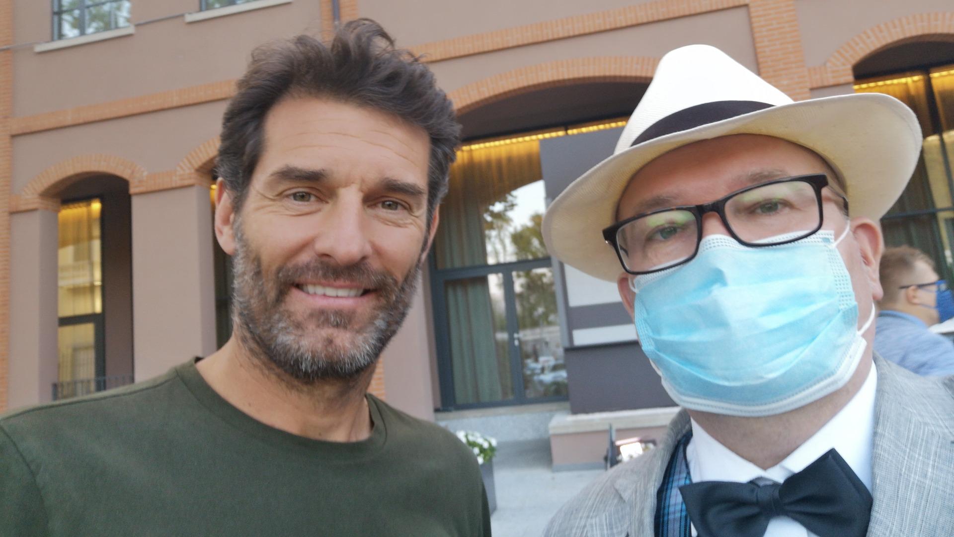 Undertegnede tok en selfie med Mark Webber, som var vennligheten selv.