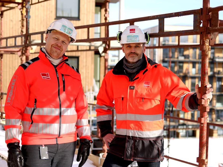 F.v.: Ørjan Vårdal, prosjektsjef i Veidekke Eiendom og Sigbjørn Faanes, prosjektutvikler i Veidekke Entreprenør. Foto: Kirsti Kringstad/Trondheim2030