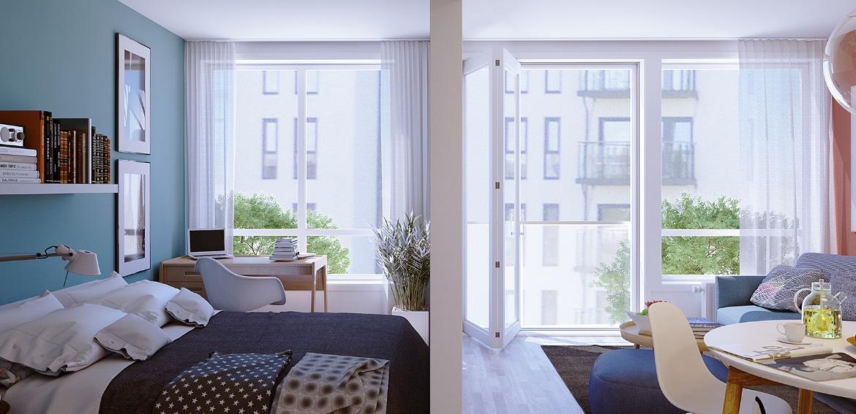 Illustrasjonsbilde fra en leilighet med tilsvarende planløsning i 2. etasje.