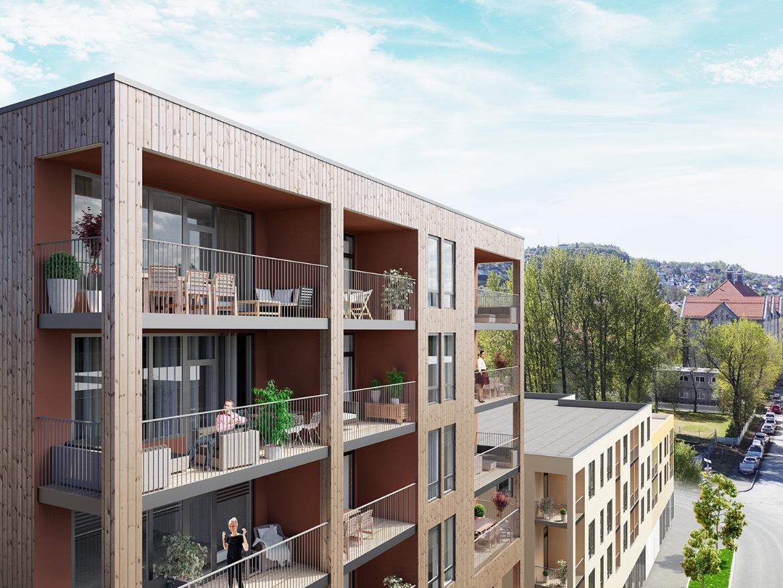 De øverste leilighetene i Maskinveita får flotte solforhold med vestvendte balkonger.