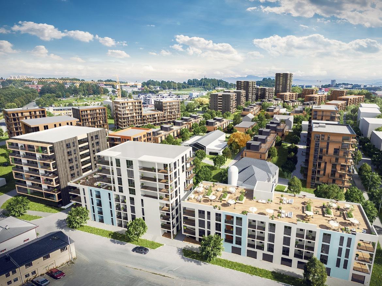 Illustrasjonsbilde over hvordan hele nye Lilleby vil komme til å se ut.