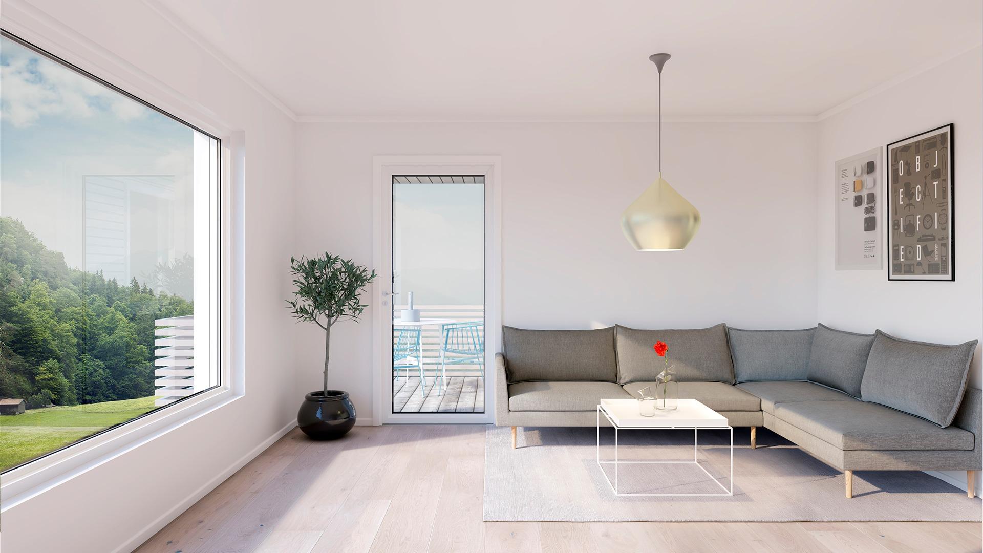 Lys og luftig stue med sofakrok