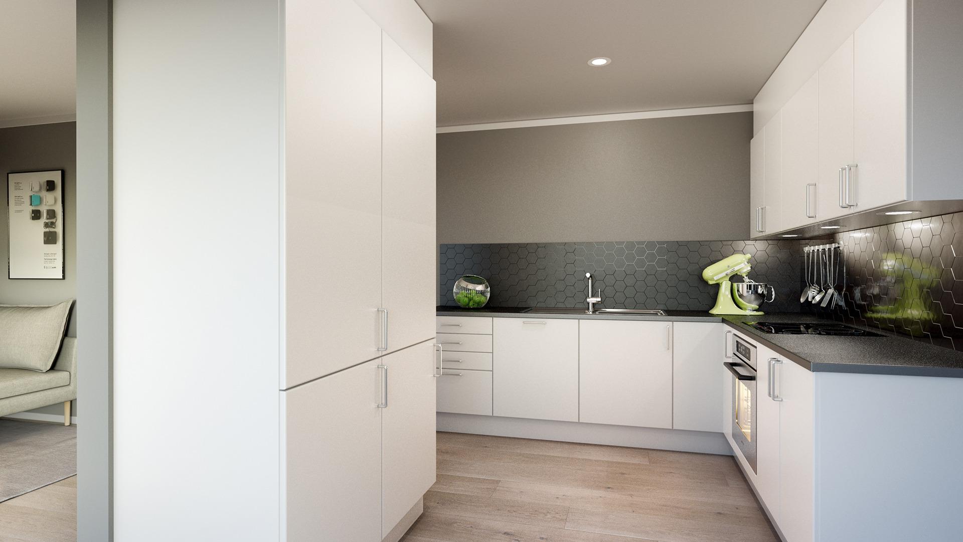 Åpen stue- og kjøkkenløsning med høyskap som skille