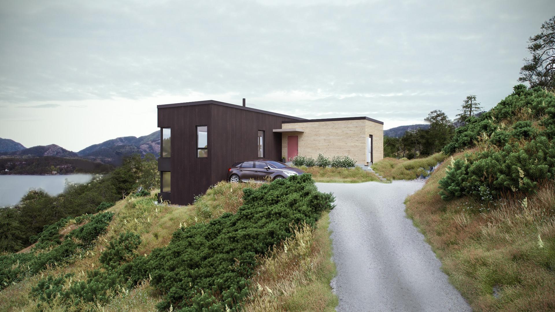 Stue, kjøkken og 3 av 4 soverom har fjordutsikt