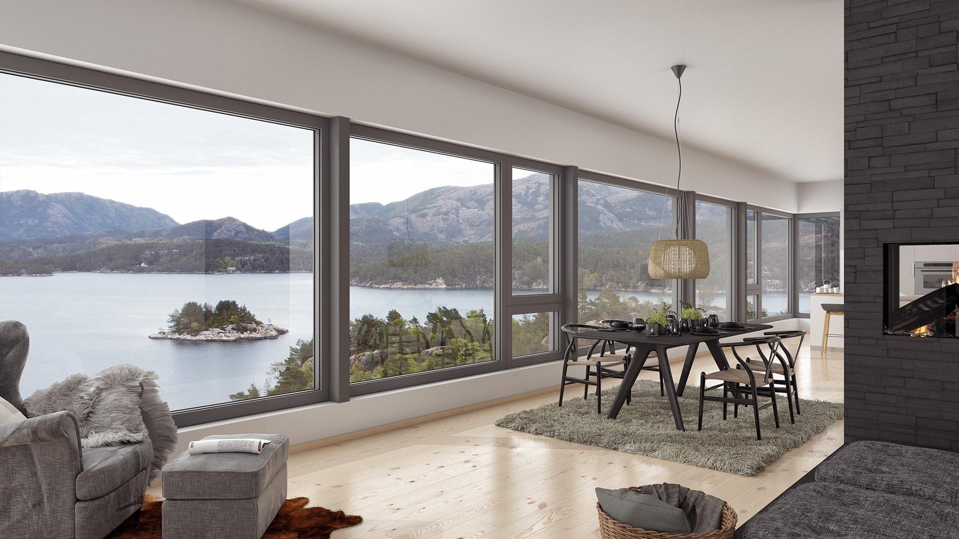 Fra den store stua i andre etasje får du en fantastisk utsikt over fjorden
