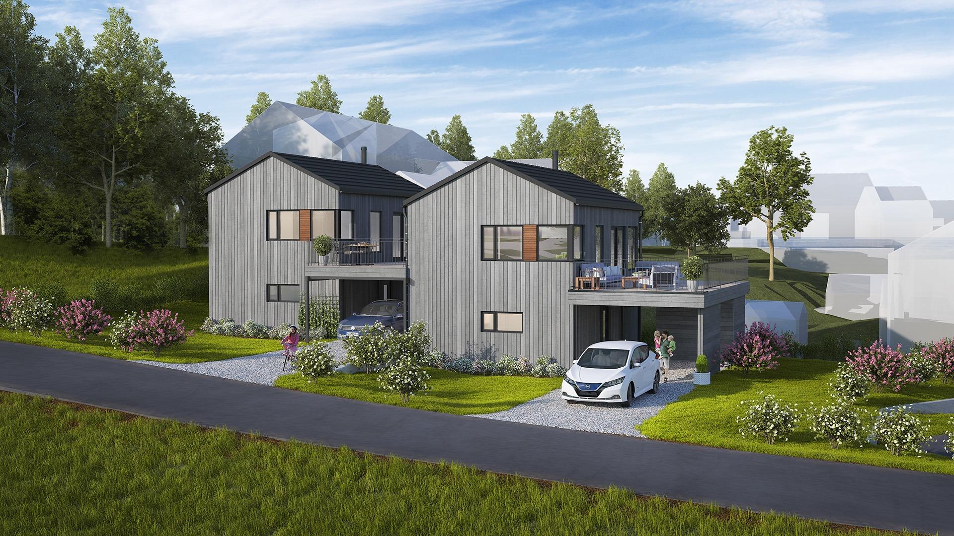 De to boligen er identiske, men boligen til høyre har en litt større veranda og bedre plassering, noe som gjør at den ligger noe høyere i pris.