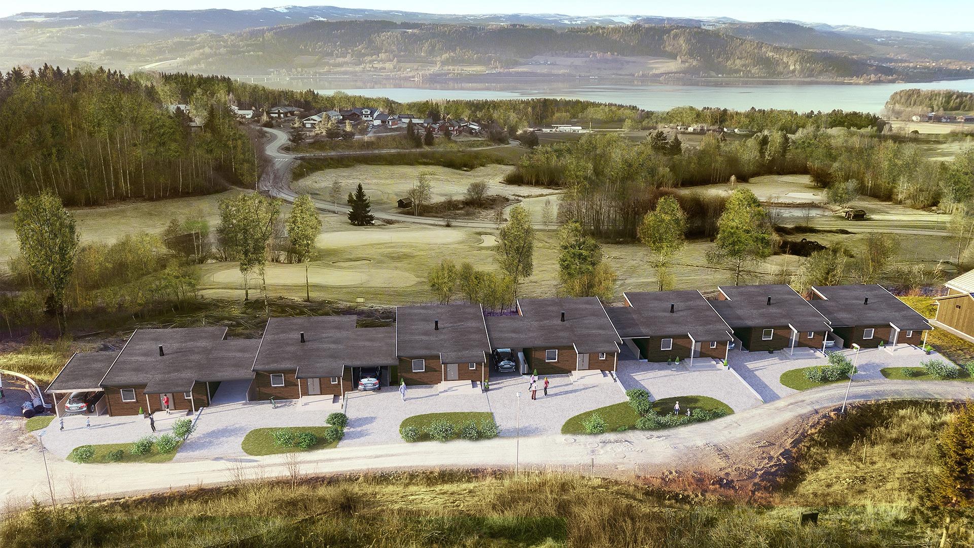 Utsikt mot Mjøsa, og er du interessert i golf er banen bare 50 m unna