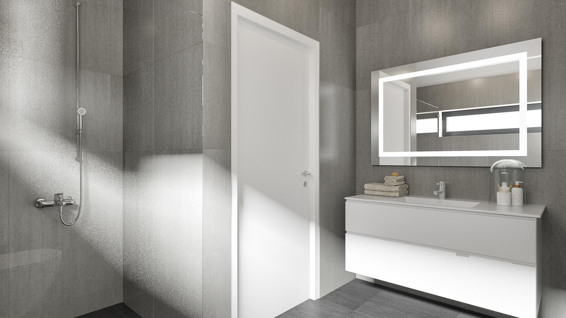 Lyst og elegant bad. Illustrasjon, avvik kan forekomme.