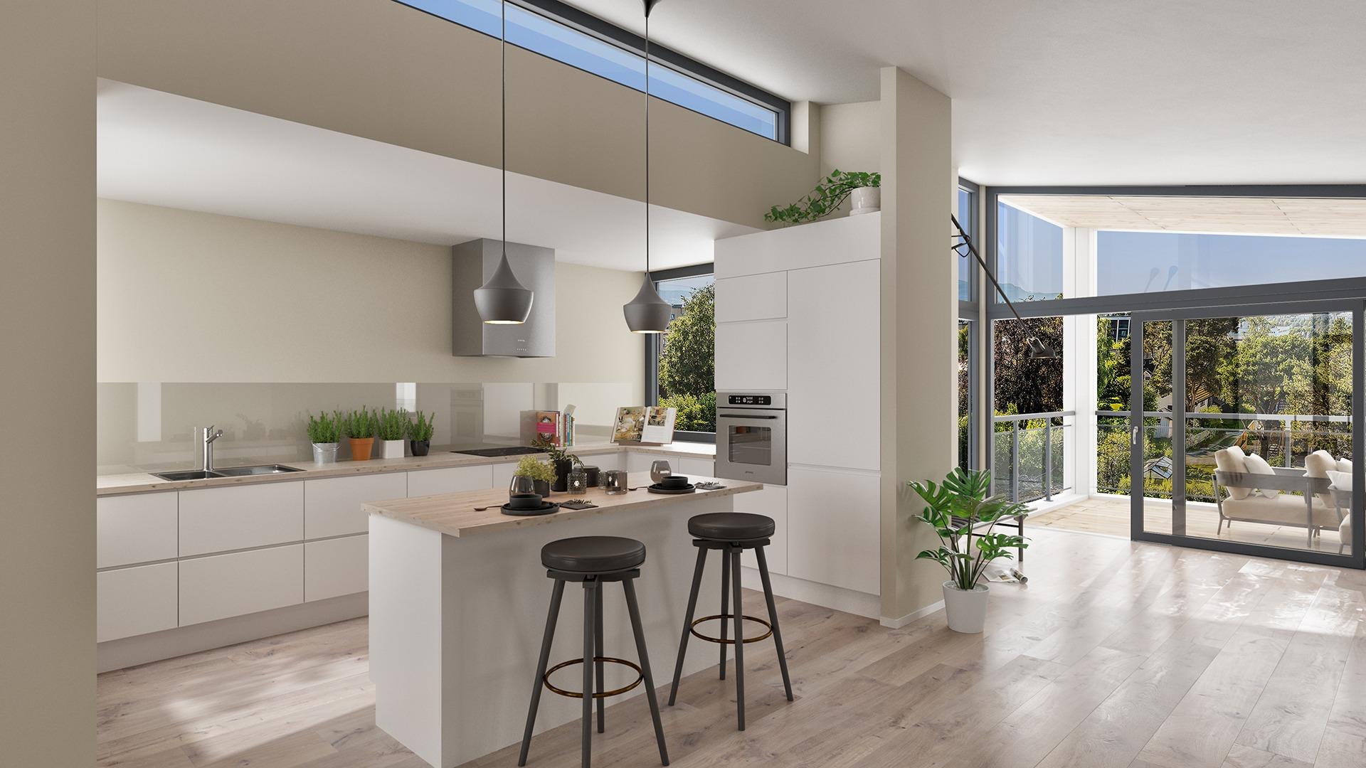 Rette og rene linjer med spennende vindusløsninger. En bolig som vil bli lagt merke til. Illustrasjon, avvik kan forekomme.