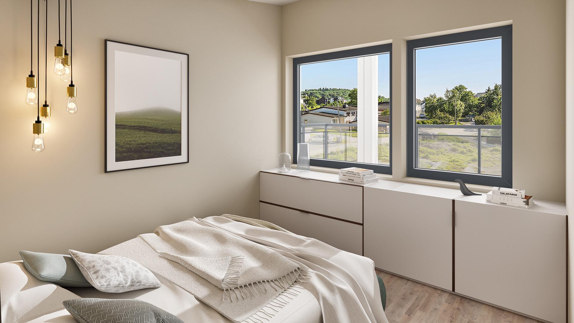 Det største soverommet har walk-in-closet og egen balkong. Tenk deg å våkne opp her! Illustrasjon, avvik kan forekomme.