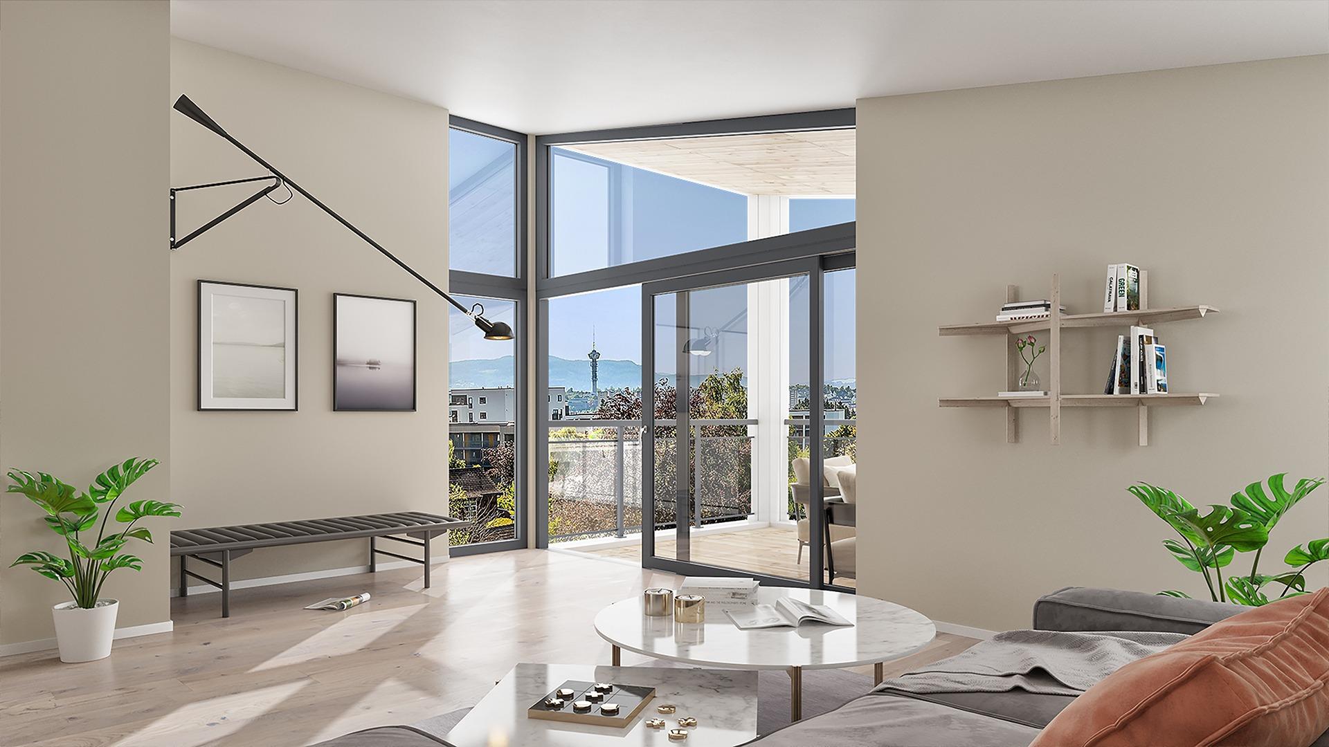 Lys og lekker stue med skråtak som leder blikket mot uterommet og den flotte utsikten. Illustrasjon, avvik kan forekomme.