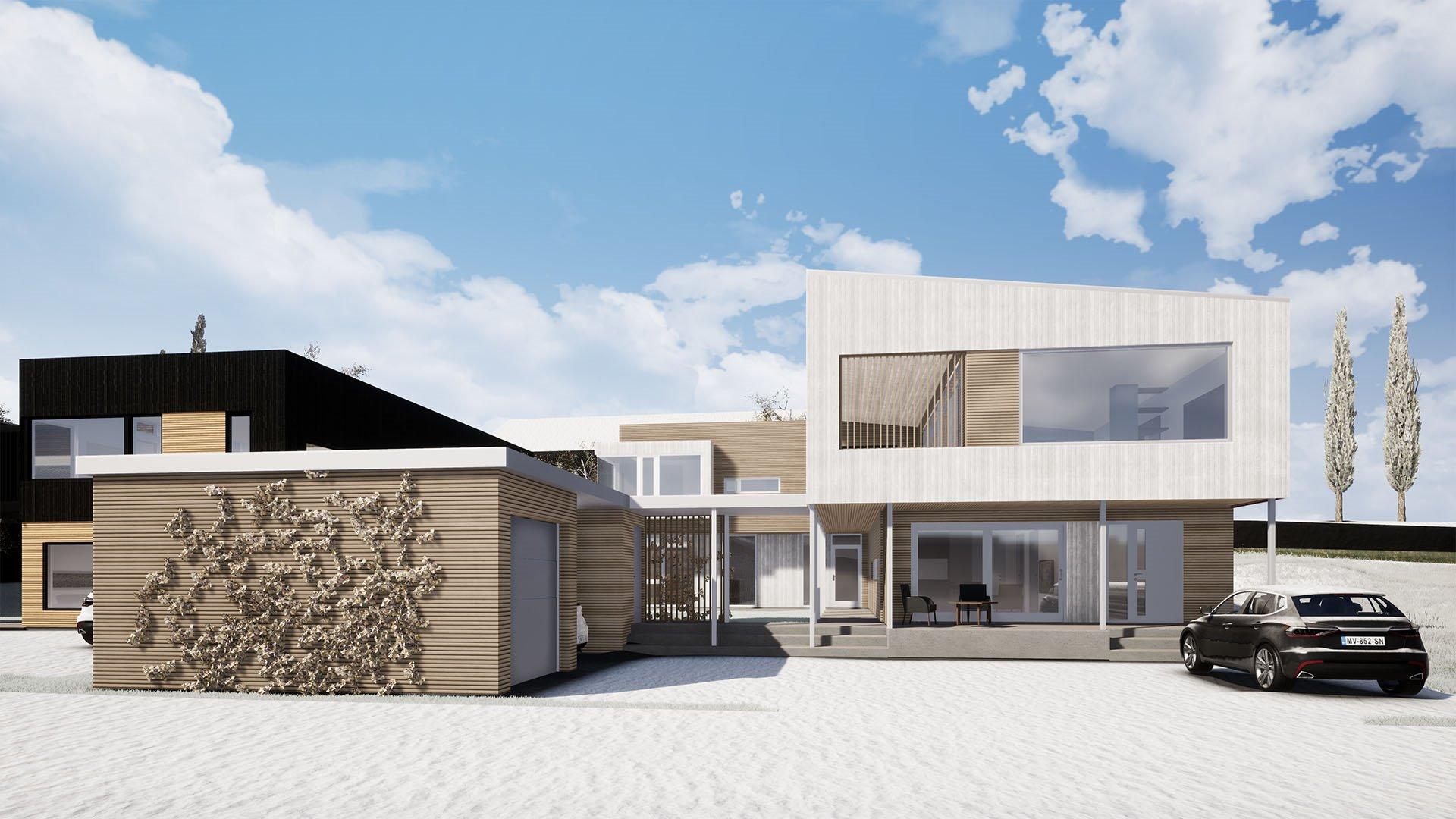 Bolig til inspirasjon, men det foreligger et krav om at boligen oppføres med et moderne uttrykk.