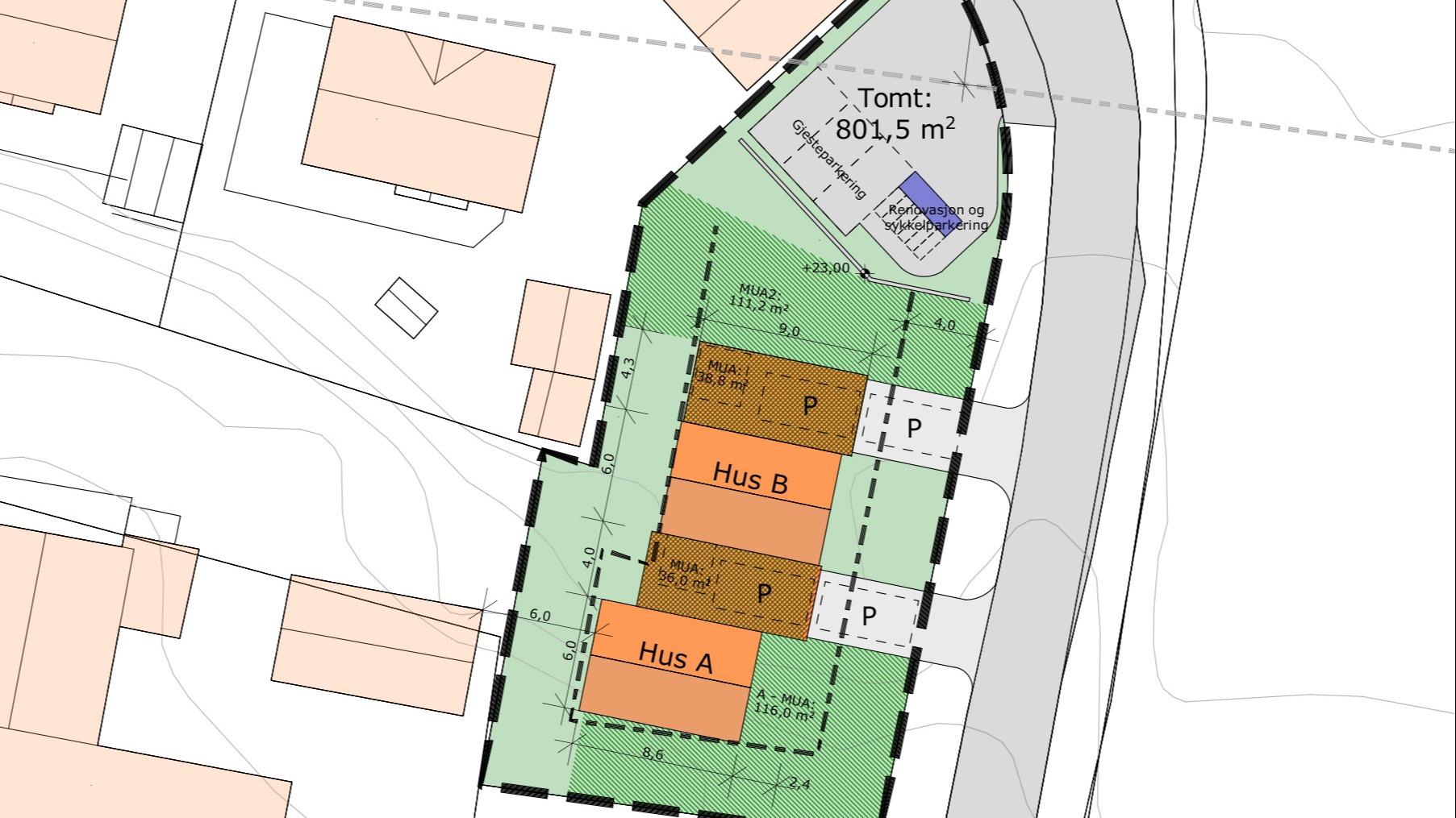 Hver bolig har p-plass til to biler i tillegg til gjesteparkering.